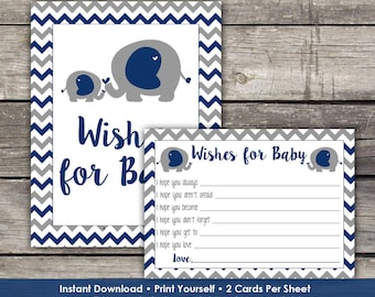 Navy Elephant Wishes for Baby Cards - Elephant Baby Wishes - Elephant Baby Shower Game Baby-106