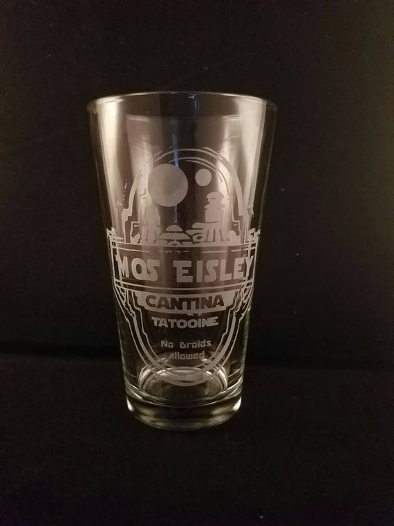 Star Wars Inspired Mos Eisley Cantina Tatooine Etched Pint Glass Etched Glassware Funny Star Wars No droids Star Wars Etched pint glass