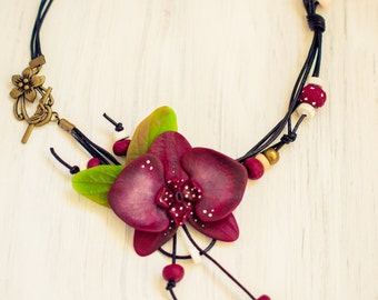 Orchid Necklace, Polymer Clay  Flower Necklace, Orchid Flower, Marsala Orchid Necklace, Marsala Necklace, Orchid jewelry