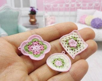 3 miniature crochet potholder or coaster for dollhouse in scale 1:12, model #123