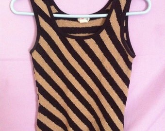 Beige Striped Tank