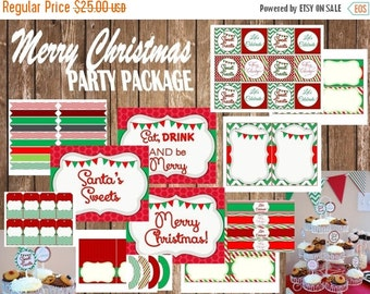 60% OFF Christmas Party Package, Instant Download, Printable Party Package, red and green, cupcake toppers, banner signs, sweet treats, DIY,
