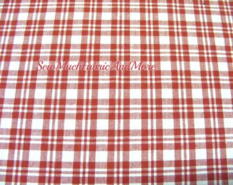 Red & White Plaid Homespun Fabric~by the 1/2 yard~cotton~primitives~crafts~quilting