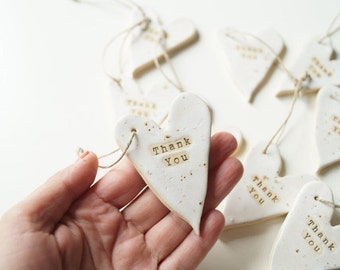 Rustic Wedding Favors, White Heart , Set of 10 pieces, Ceramic Heart Ornament, Wedding Party Favors, Ceramics and Pottery, Rustic Style