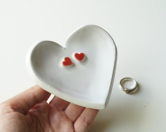 Wedding Ring Holder, Wedding Ring Dish, Wedding Bowl, Wedding Ring Pillow, Jewelry Holder, Heart Plate, Ceramics and Pottery