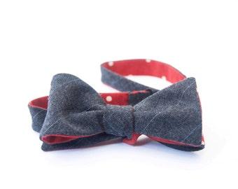 Grey windowpane wool & red polka dot bow tie - double sided