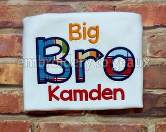 Madras Big Brother Shirt/Big Brother Shirt/Personalized Big Brother Shirt/Big Brother Announcement Shirt/Big Brother T-Shirt/