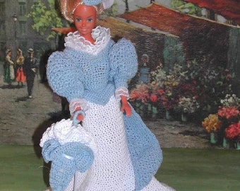 Crochet Fashion Doll Barbie Pattern- #82 TURN  of CENTURY SCARLETT