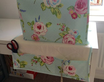 """Clarke & Clarke - """"English Rose Seafoam"""" Floral Shabby Chic Sewing Machine Cover"""