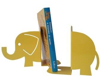 Bookends Elephant, yellow, storage, organize, shelf.