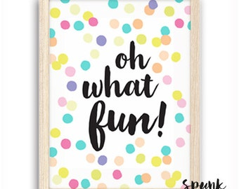 Oh What Fun Confetti Print Nursery Kids Baby Playroom