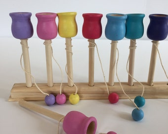 Toy Wooden Cup and Ball Toss Game, Wooden Game