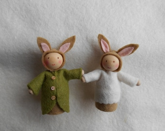 Waldorf style Easter spring bunny rabbit two figures handmade gift present