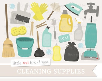 Cleaning Clipart, Cleaning Supplies Clip Art Vacuum Cleaner Laundry Soap Broom Spray Bottle Cute Digital Graphic Design Small Commercial Use