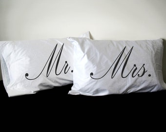 His and Her Pillowcase set, Mr. and Mrs.