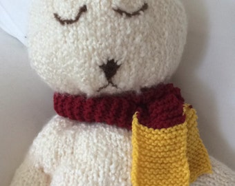 Hand Knit Stuffed Bear With Scarf