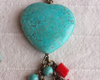 Stone Heart Necklace with turquoise and coral gipsystyle