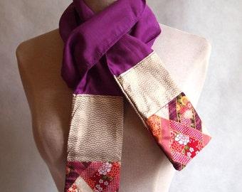 Japanese cotton patchwork scarf purple