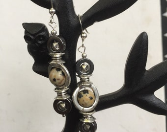 Speckled Gemstone and Magnetite Earrings