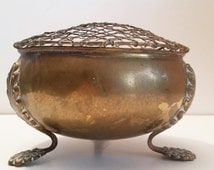 Antique Brass Rose Bowl with 3 Art Nouveau Floral Feet and Flower Frog