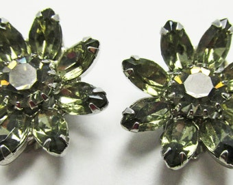 Vintage - Collectible - Floral Rhinestone Earrings - Jewelry - Silver - Rhinestones - Earrings - Flawless - Sparkling - Floral - Women's