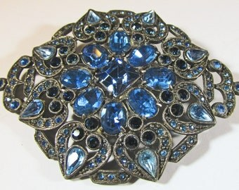 Vintage 1930s Silver Toned Blue Rhinestone Pin