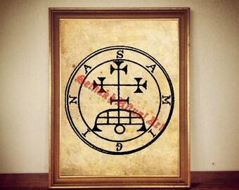 4 Samigina demon seal print, Goetia sigil poster, Lemegeton demon art, The Lesser Key, occult pentacle, ritual, summoning demons #104.4