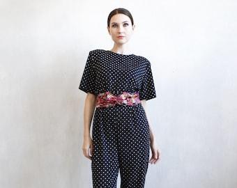 black polka dot jumpsuit / 80s black jumpsuit / boho jumpsuit / 80s overalls / boho polka dots rompers / hipster jumpsuit / hipster overalls