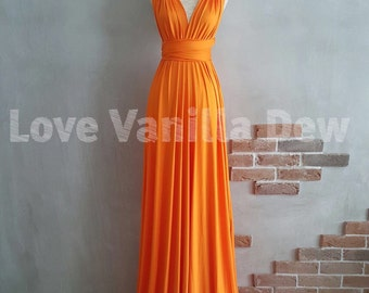 Bridesmaid Dress Infinity Dress Bright Orange Floor Length Maxi Wrap Convertible Dress Wedding Dress