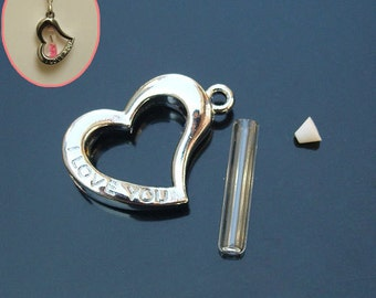 Love (5MM Glass Vial),glass vial pendant name on rice pendant,Trinkettes charm glass vials,wishing vials,rice vial