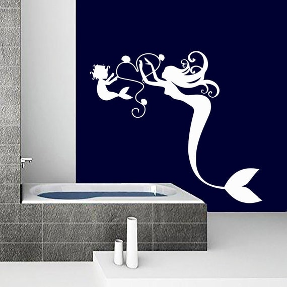 Wall decals mermaid decal vinyl sticker bathroom by cozydecal