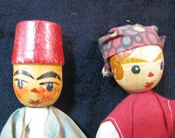 Sale - Hand carved dolls Folk art German wooden, Vintage