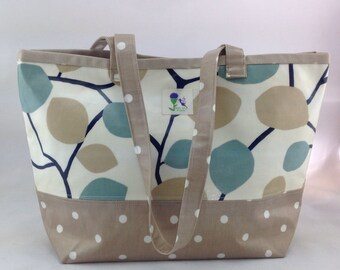 Classic leaf printed Oilcloth tote bag, laminated cotton tote bag, Daybag, beach bag.