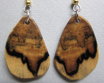 Black and White Ebony Small Exotic Wood Earrings repurposed ecofriendly Handcrafted ExoticWoodJewelryAnd