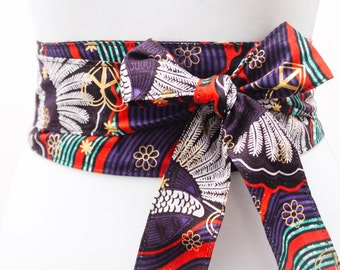 Purple Gold Ankara Obi Belt l African Print Obi Corset Belt | Wax Print Belt | Wide Belt| Corset Belt |Plus size belts| African Print