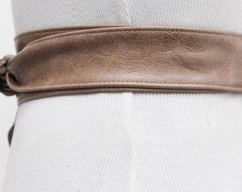 Beige Taupe Leather Obi Thin Belt | distressed finish Belt | Leather tie belt | Real Leather Belt| Narrow Belt