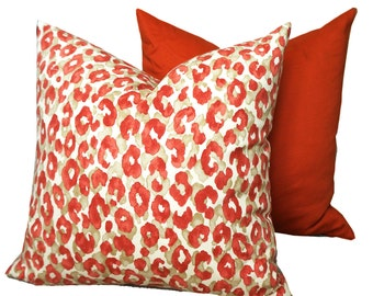 Orange Floral Outdoor Pillow Cover Red Floral Zippered Pillow