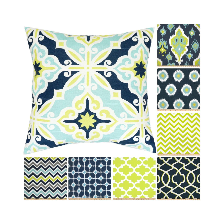 Lime Green Throw Pillow Cover.Navy Pillows.Blue Pillow.Blue