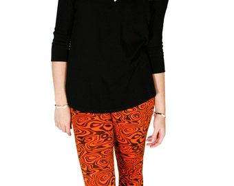 Waterprint - Orange and Black Leggings