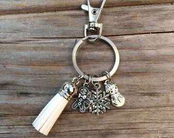 Christmas Tassel Keychain, keychain, Snowflake keychain, purse keychain