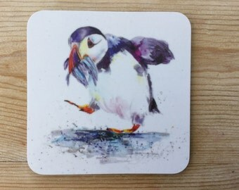 Designer Puffin Coaster by Nicola Jane Rowles made in UK