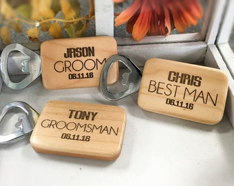 Engraved Bottle Opener - Groomsmen Gift, Set of 8