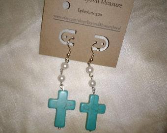 Pearl & turquoise cross earrings