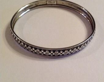 Vintage Sterling Silver Floral Bangle Bracelet