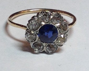 SALE Vintage 14k Yellow and White Gold White and Blue Sapphire Ring GORGEOUS