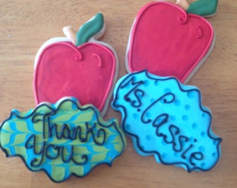 Set of 12 personalized teacher appreciation sugar cookies  delicious decorated butter cookies