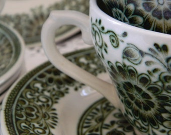 Vintage Staffordshire Jade Broadhurst & Sons Ltd/Green Ironstone Tea cups, Saucer and Tea plate - Trio Set x 4 (12 Pieces)