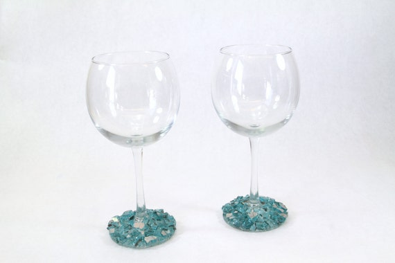wine glasses with turquoise fire glass upcycled wine glasses