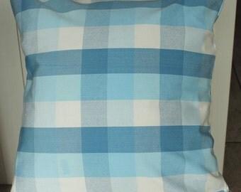 Blues & cream check cushion cover