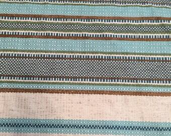 Boho Blue, Turquoise Woven Railroaded Stripe